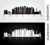 houston usa skyline and... | Shutterstock .eps vector #518420491