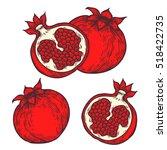 pomegranate set fruit  berry.... | Shutterstock .eps vector #518422735