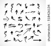 hand drawn arrows  vector set | Shutterstock .eps vector #518426134
