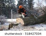 proffesional lumberjack cutting ... | Shutterstock . vector #518427034