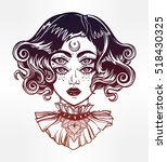 strange witch girl head... | Shutterstock .eps vector #518430325