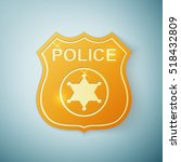 gold police badge icon isolated ... | Shutterstock .eps vector #518432809