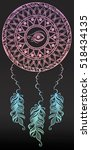 dreamcatcher with eye of ra and ... | Shutterstock .eps vector #518434135