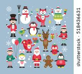 set of cute christmas... | Shutterstock .eps vector #518436631