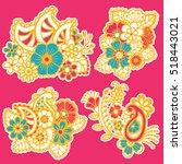 mehndi design. collection of... | Shutterstock .eps vector #518443021