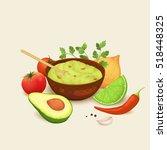 guacamole sauce and ingredients ...   Shutterstock .eps vector #518448325
