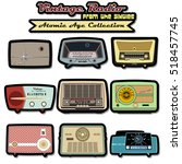retro vintage radio set... | Shutterstock .eps vector #518457745