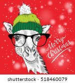 Christmas Card With Giraffe In...