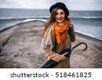 redhead girl in hat with... | Shutterstock . vector #518461825