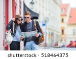 young tourist couple traveling...   Shutterstock . vector #518464375