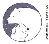 cute cartoon polar bear mom... | Shutterstock .eps vector #518464429