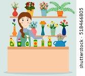 flower shop florist or female...   Shutterstock .eps vector #518466805