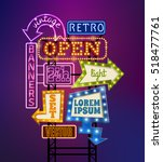 retro signboard with light... | Shutterstock . vector #518477761