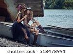 two girls in beautiful dresses... | Shutterstock . vector #518478991
