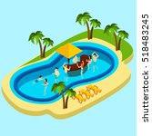 water park and friends with... | Shutterstock . vector #518483245