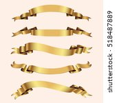 set of golden ribbons on beige... | Shutterstock .eps vector #518487889