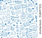 back to school seamless vector... | Shutterstock .eps vector #518497321