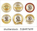anniversary golden labels retro ... | Shutterstock .eps vector #518497699