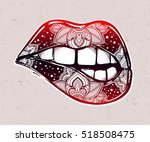 sexy biting lips. pop art print ... | Shutterstock .eps vector #518508475