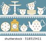 white tea set with roses motif... | Shutterstock .eps vector #518515411