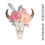 watercolor isolated bull's head ... | Shutterstock . vector #518516164