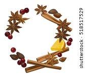 winter spice. decorative vector ... | Shutterstock .eps vector #518517529