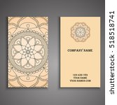 vector business card. floral... | Shutterstock .eps vector #518518741