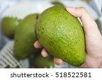 avocado on male hand   Shutterstock . vector #518522581