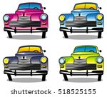 four different colored vintage... | Shutterstock . vector #518525155