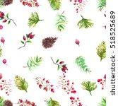 christmas botanical watercolor... | Shutterstock . vector #518525689