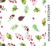 christmas botanical watercolor... | Shutterstock . vector #518525689