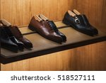 Elegant shoes in a man clothing store - stock photo