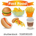 set fast food  meal  pizza  hot ... | Shutterstock .eps vector #518530105