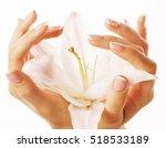 beauty delicate hands with... | Shutterstock . vector #518533189