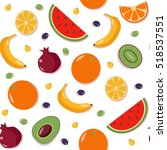 fruits seamless pattern with... | Shutterstock . vector #518537551