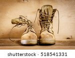 Old Brown Military Boots On A...