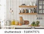 white tiles wall modern kitchen ... | Shutterstock . vector #518547571