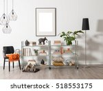 modern bookcase and accessories ... | Shutterstock . vector #518553175