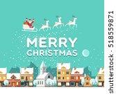 snowy street. urban winter... | Shutterstock .eps vector #518559871