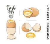 vector boiled egg as food egg a ... | Shutterstock .eps vector #518559874