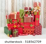 beautiful stack of christmas... | Shutterstock . vector #518562709