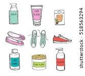 hand drawn sketch cosmetics set ... | Shutterstock .eps vector #518563294