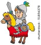 cartoon knight sitting on horse ... | Shutterstock .eps vector #51856378