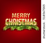 illustration merry christmas... | Shutterstock . vector #518567005