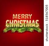 illustration merry christmas... | Shutterstock . vector #518567005