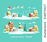santa claus with deers in sky... | Shutterstock .eps vector #518573317