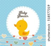 baby shower card with cute duck ... | Shutterstock .eps vector #518577319