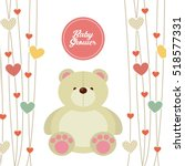 baby shower card with cute bear ... | Shutterstock .eps vector #518577331