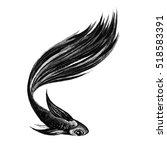 hand drawn fish. watercolor... | Shutterstock . vector #518583391
