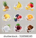 Fruit, berries and yogurt. Mango, banana, pineapple, apple, orange, chocolate, melon, coconut. 3d vector icon set 2 | Shutterstock vector #518588185